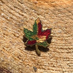 Vintage Maple Leaf Pin Brooch Enamel Gold Canada